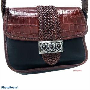 Brighton 2 Tone Croc Leather Shoulder Bag Braided